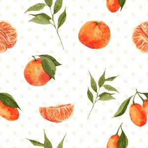 Watercolor pattern with leaves and tangerines