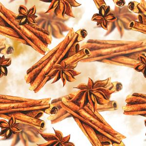 Watercolor pattern with cinnamon