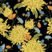 Vintage Floral pattern with Blooming Yellow Chrysanthemums on black