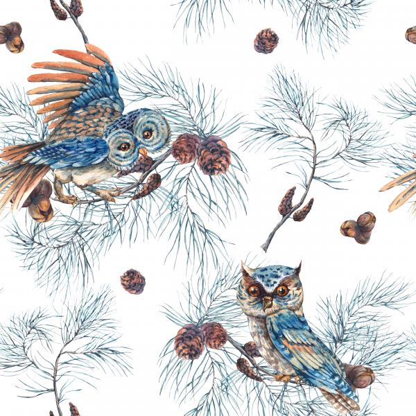 Watercolor Pattern with Owls