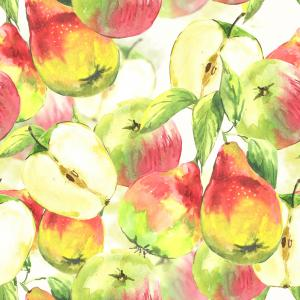 Watercolor pattern with apples and pears