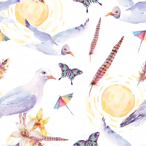 Sunny summer watercolor pattern
