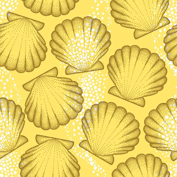 Vector seamless pattern with dotted Sea shell or Scallop in brown on the orange background.