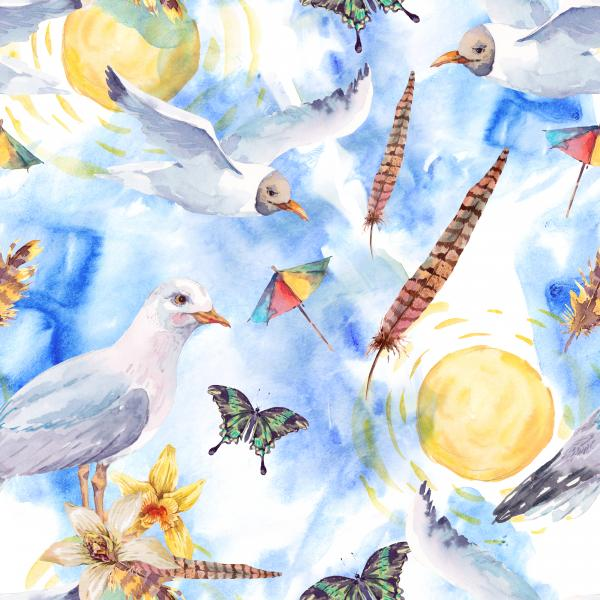 Watercolor sunny summer pattern