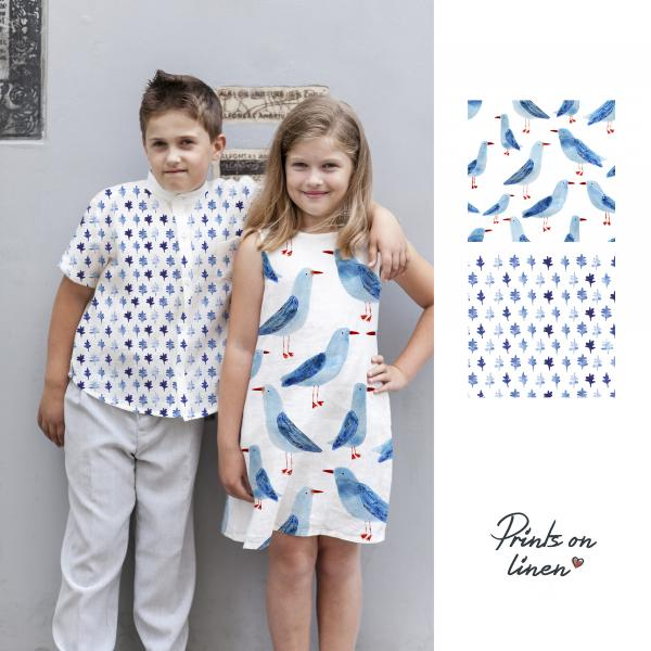 Girls dress with seagulls pattern