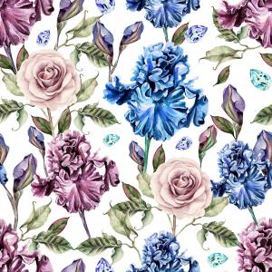 Pattern with watercolor realistic rose and iris.