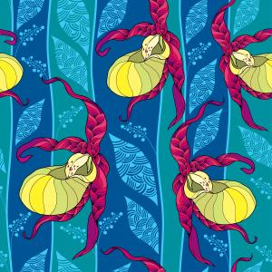 Seamless pattern with yellow Cypripedium calceolus or Lady's-slipper orchid and ornate leaves on the blue background.