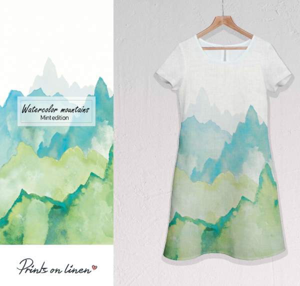 Dress / Watercolour Mountains / Mint edition