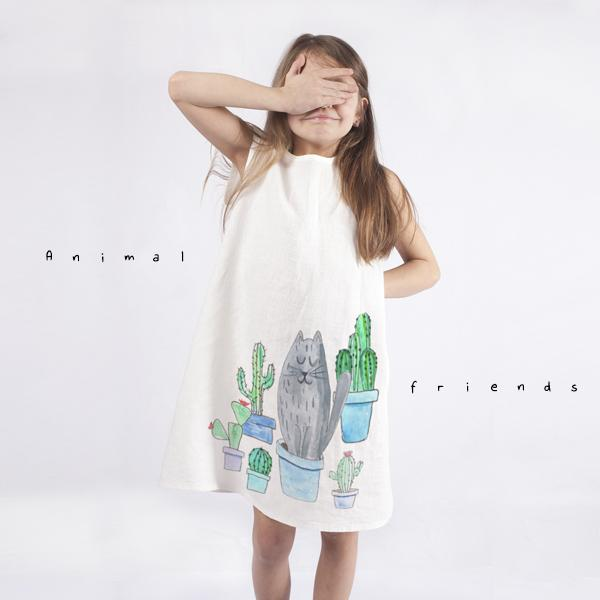 Girls dress with animated cat