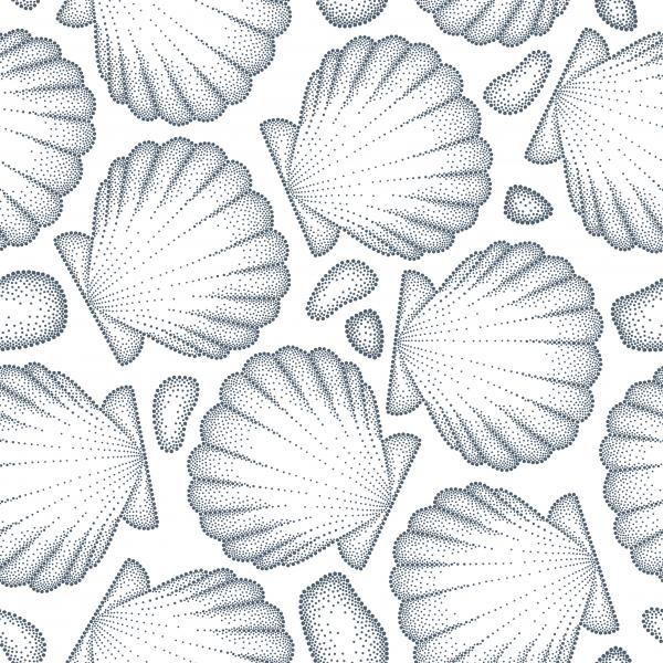 Vector seamless pattern with dotted Sea shell or Scallop in black and pebbles on the white. Marine and aquatic theme.