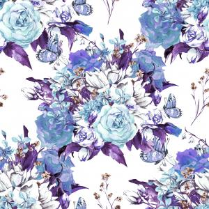 Blue Spring Floral pattern with Roses, Jasmine, Butterfly and Wildflowers