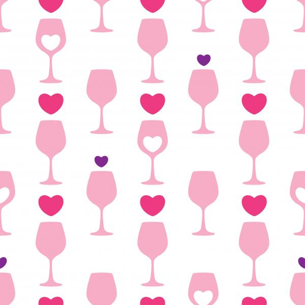 Seamless pattern with pink silhouette of wineglass and hearts on the white background.