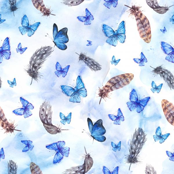 Watercolor pattern with feathers and blue butterflies on blue