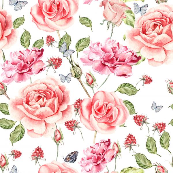 Seamless watercolor pattern with roses, anemones and peony. Raspberry and leaves. Illustration.