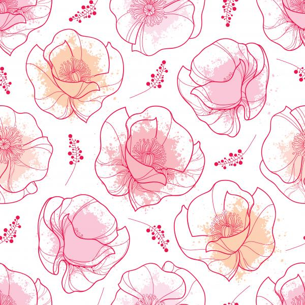 Pattern with outline red Poppy flower and pink pastel blots on the white background.