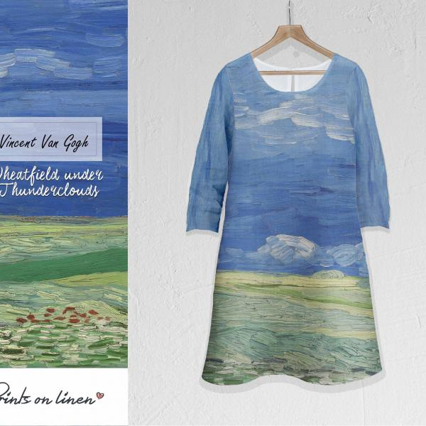 Linen dress / Wheatfield under Thunderclouds