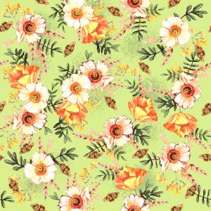 Delicate watercolor spring pattern with flowers and butterflies