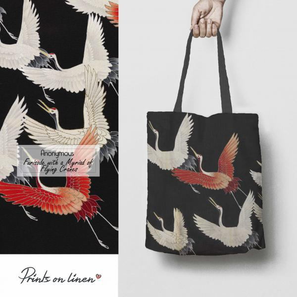 Linen tote /   Flying Cranes
