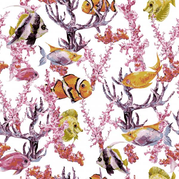 Watercolor Pattern with fish and corals