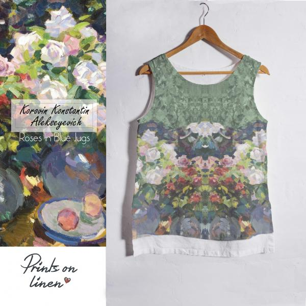 Linen tank top / Roses in Blue Jugs
