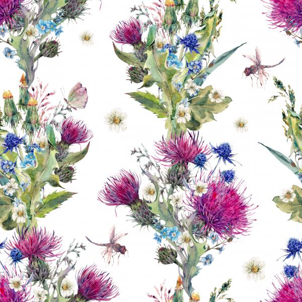 Summer watercolor pattern with wild flowers