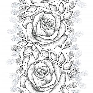Seamless pattern with dotted black roses, leaves and stylized gray petals on the white background.