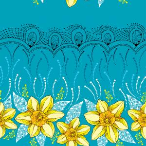 Seamless pattern with narcissus and black lace.