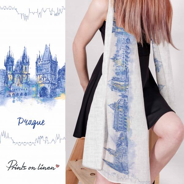 Linen scarf / Praque city print