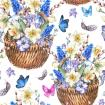 Beautiful spring pattern with daffodils, violets, pussy-willow, pansies, muscari and butterflies in the wicker