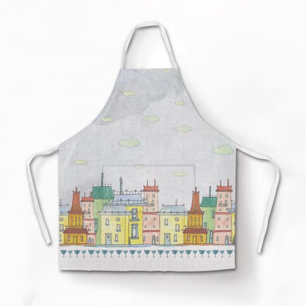 "Apron ""Colourful houses"" White"