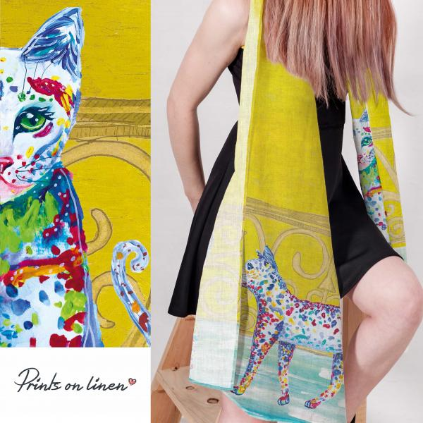 Linen scarf / The story of cat II