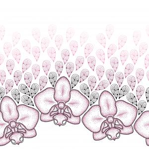 Seamless pattern with dotted moth Orchid or Phalaenopsis and stylized pink petals on the white background.