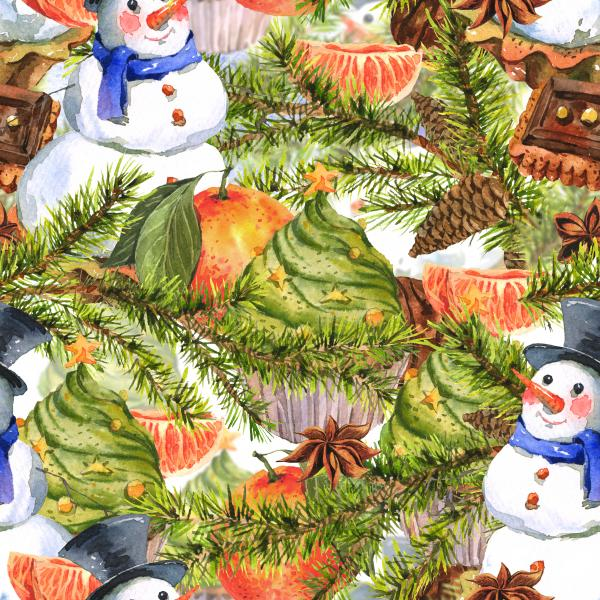 Christmas Watercolor pattern with Snowman, Cupcakes, Fir and Pine cones