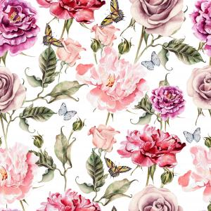 Pattern with watercolor realistic rose, peony and butterflies.