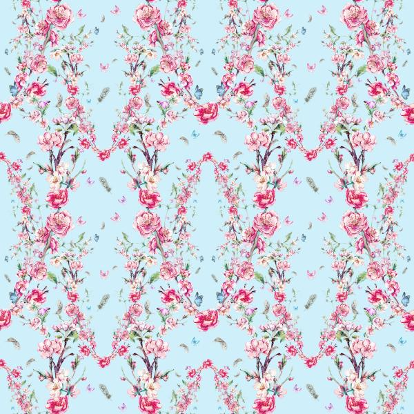 Watercolor pattern with pink blooming branches on blue
