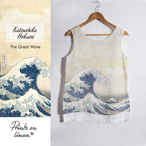 Linen tank top / The Great Wave