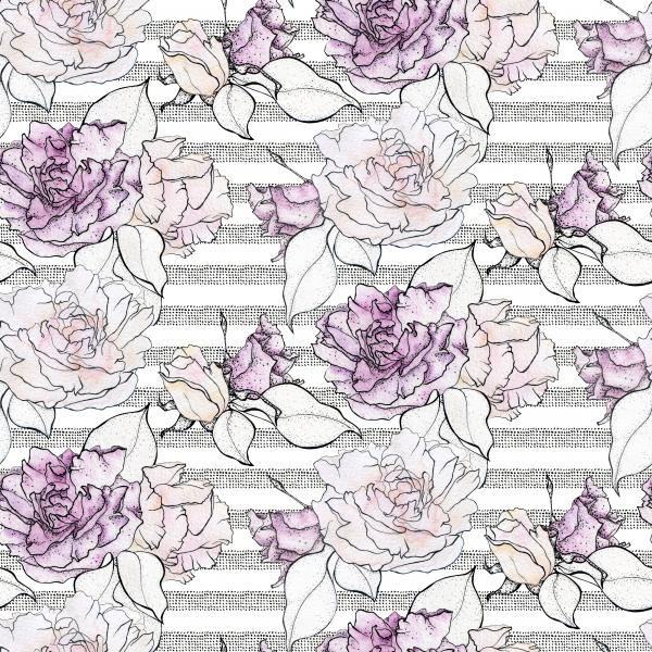 Watercolour roses with stripes