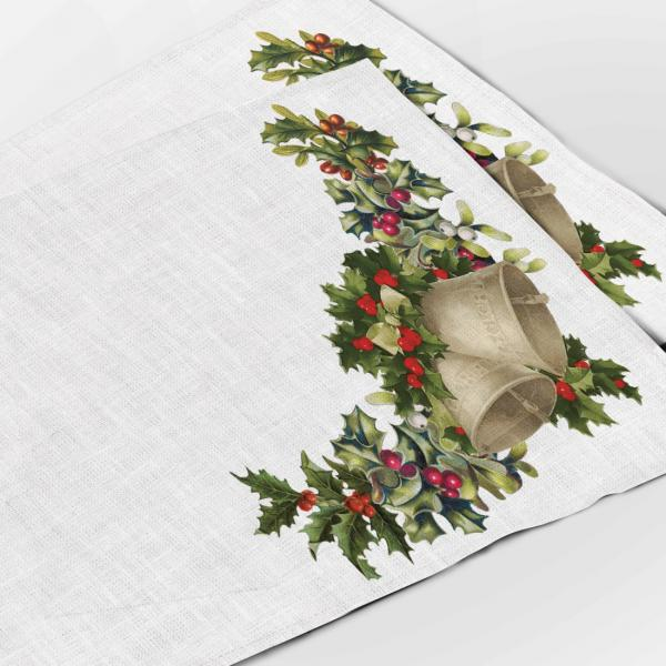 Placemats set / Christmas Bells & Letters