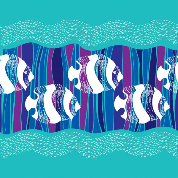 Seamless pattern with dotted white fish and waves