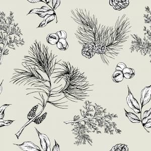 Black and white pattern with fir cones and leaves