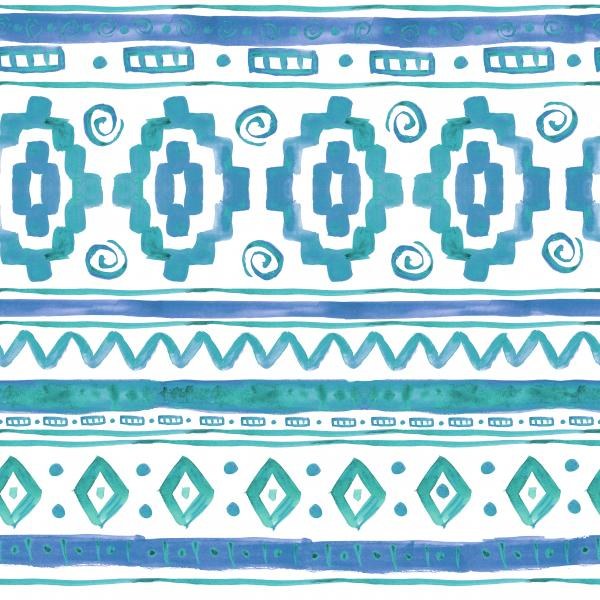 Blue ethnic african watercolor pattern