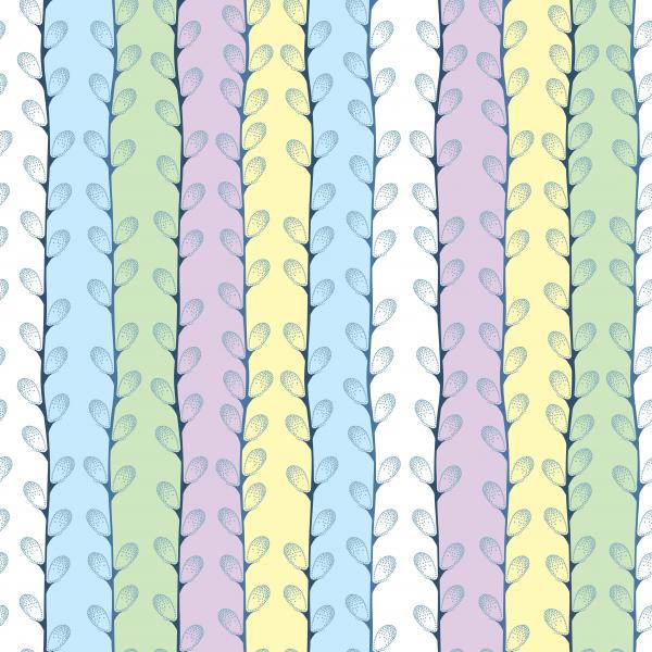 Seamless pattern with dotted branches of Pussy-willow in pastel colors.