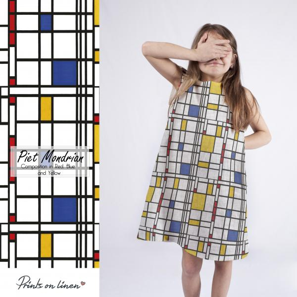 Girl dress  / Composition in Red, Blue and Yellow