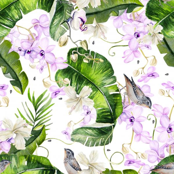 Bright colorful watercolor pattern with leaves of palms and monsters. Hibiscus flowers and orchid,  birds.