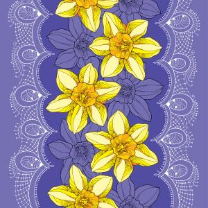 Seamless pattern with narcissus and white lace on the violet background.