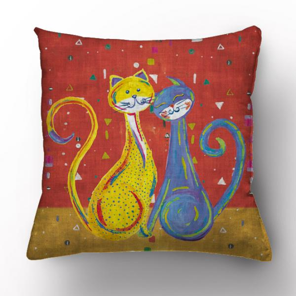 Pillow case / Happy cats (red)