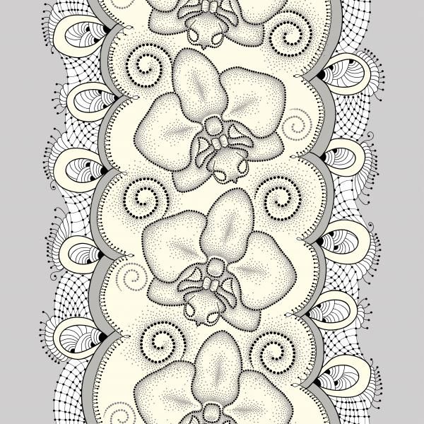 Seamless pattern with dotted moth Orchid or Phalaenopsis, swirls and decorative lace on the light yellow background.
