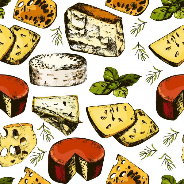 hand drawing pattern with different cheeses.