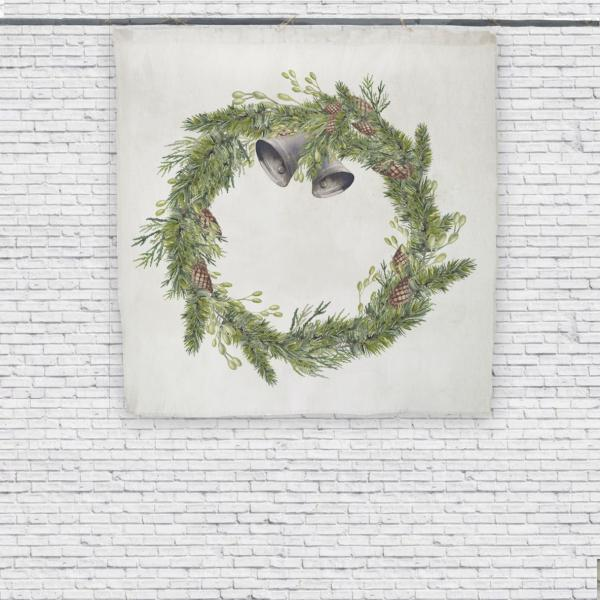 Wall tapestry / Christmas Wreath with Bells
