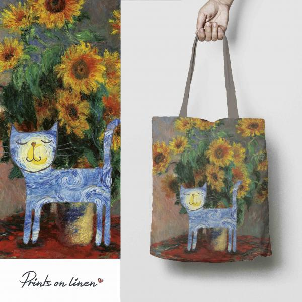 Linen tote bag / Van Gogh cat